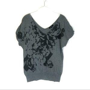 Express floral jersey knit blouse gray black vneck